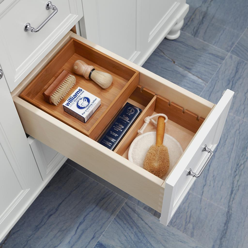 Conquer your bathroom clutter with tailored vanity storage - Bathroom vanity with drawers on left ...