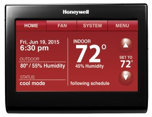 Voice Control WiFi 9000 Color Touchscreen Thermostat Red screen  - 3 in. Color